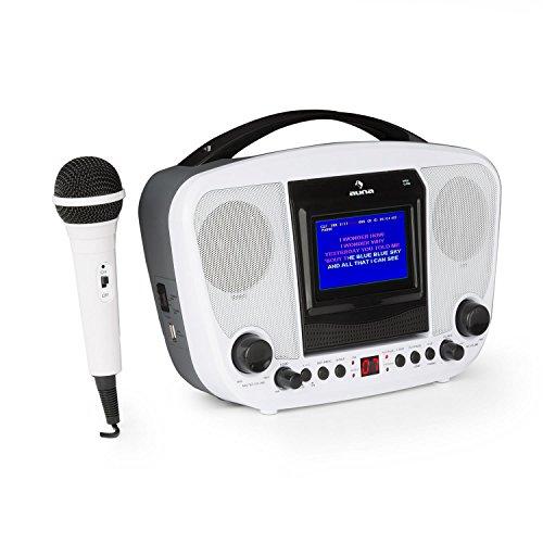AUNA KaraBanga - Sistema Karaoke , Karaoke per Bambini , Lettore Karaoke , Set , Bluetooth , 2 microfoni dinamici , Lettore CD+G , Uscita Video , Uscita Audio , Funzionamento Batteria , Bianco