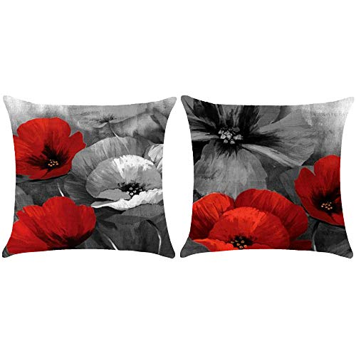 WePurchase Set Of 2 Ink Painting Watercolor Red Grey Retro Poppy Flowers Mother's Day Decoration Cotton Linen Decorative Home Sofa Living Room Throw Pillow Case Cushion Cover Square 18x18 Inches