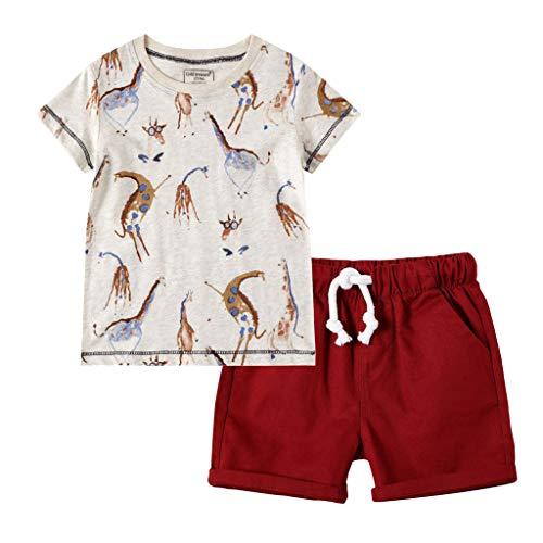 Kleinkind Jungen Karikatur Drucken T-Shirt Tops + Solid Hose Outfits Einstellen