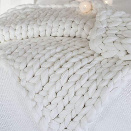 Manta De Punto Grueso, Lana Tejida a Mano Merino Cama sofá Tiro, Calentar Decoración del hogar Alfombra for Mascotas, Yoga (Color : White, Size : 120x180cm/47x71in)