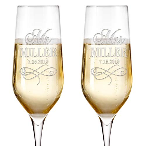 Set of 2 Personalized Wedding Champagne Flutes Engraved Glass Bride and Groom Gift Wedding Favors - Design 3