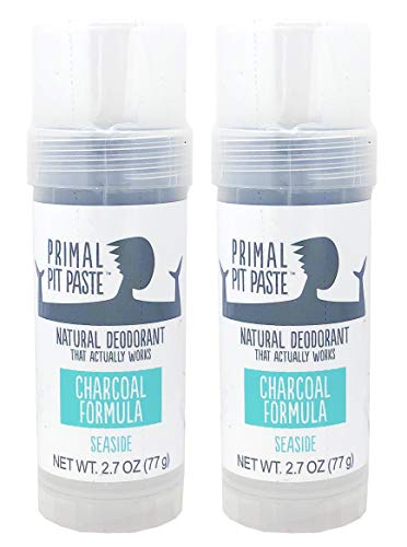 Primal Pit Paste Charcoal Formula Seaside Deodorant Pack of 2 Aluminum Free, Baking Soda Free, and Paraben Free