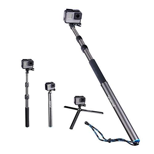 Smatree Carbon Fiber Selfie Stick Tripod Extension Monopod Compatible with GoPro Hero 9/8/7/6/5/4/3 plus/3/2018/Fusion/AKASO/SJCAM SJ4000 Xiaomi Yi/DJI OSMO Action Cameras with Tripod