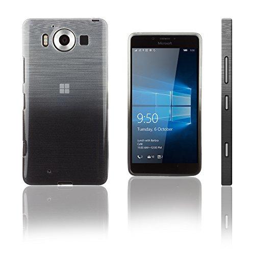 Xcessor Transition Color Custodia per Microsoft Lumia 950. Flessibile TPU Gel con Gradient della Filo di Seta Texture. Trasparente/Grigio