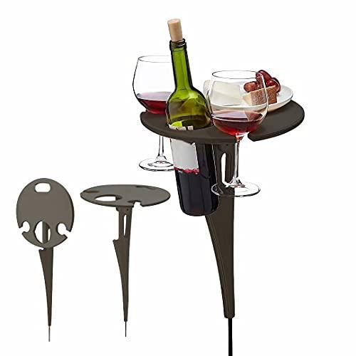 Mesa de vino de madera, portátil, plegable, redonda, de picnic, fácil de llevar, bandeja de vino para casa, picnic al aire libre