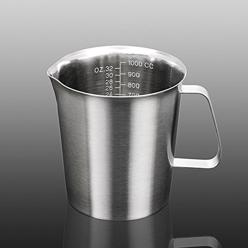 Addfun Milk Pitcher, Stainless Steel Milk Cup Milk Frothing Pitcher Measuring Cup,1000ML