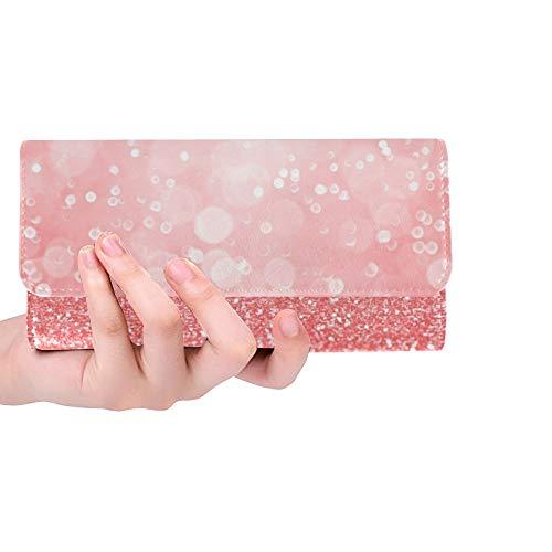 JOCHUAN Einzigartige kundenspezifische abstrakte korallenrote rosa Pfirsich-Lachsfarbe Stockfoto Frauen-dreifachgefaltete Mappe langer Geldbeutel-Kreditkarteninhaber-Fall Handtasche