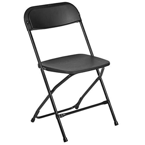 Flash Furniture HERCULES Series 650 lbs capacity Premium Plastic Folding Chair - Black (10 Pack)