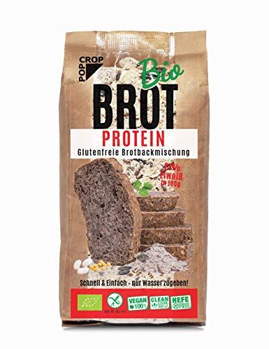 POPCROP Bio EIWEIß-BROT BACKMICHUNG PROTEIN 2 x 450g Pack für 1,5kg Brot | Vegan Gluten-Frei Hefe-Frei Lactose-Frei | Schnellbrot – Nur Wasser Zugeben | Fitness | Nur Beste Natürliche Zutaten