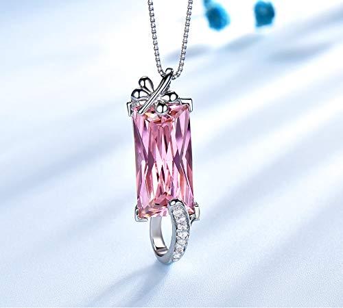 Rectángulo Rosa Cz 925 Plata Esterlina Collares Y Colgantes Charm para Mujeres Compromiso Aniversario Regalo De La Joyería Fina