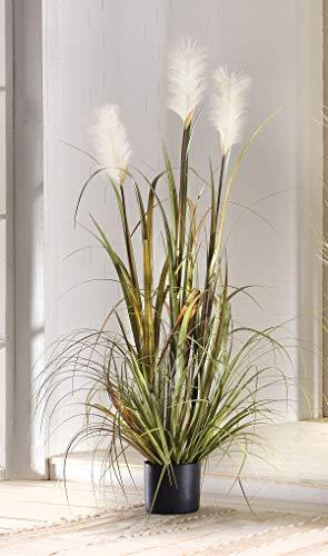 FRANK FLECHTWAREN Deko Topfpflanze Uferschilf, 120cm hoch, Kunstgras, künstliche Pflanze