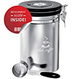 Star Coffee Container Airtight Coffee Storage - Stainless Steel Canister with Scoop for Beans and...