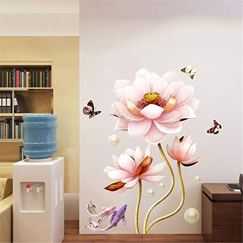 Estilo Chino Lotus Pink Flowers Pegatinas Pared Autoadhesivas, Sala Estar Fondo TV DIY Calcomanía Pared Gran Tamaño Murales Decoración De PVC A Prueba De Agua Para El Pasillo Del Dormitorio