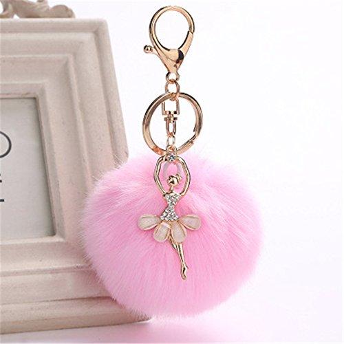 OSYARD Schlüsselanhänger,Keychain,8 cm Niedlich Keyring mit Tanzen Engel Anhänger Frauen Schlüsselring Pompoms Schlüssel Ring Handtaschenanhänger Rucksäcke Dekor Zubehör