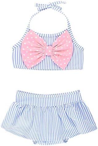RuffleButts Baby Toddler Girls Periwinkle Blue Seersucker Bow Skirted Bikini 12 18m product image