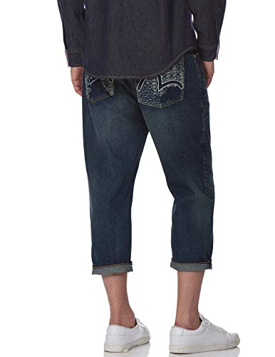 EVISU Denim Jeans with Outlined Seagull Embroidery Blue