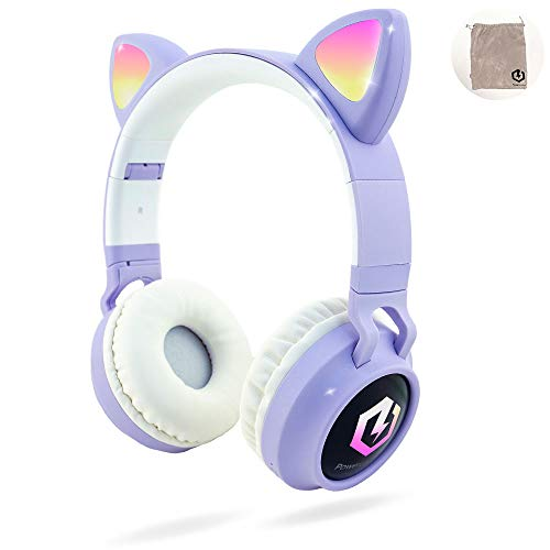 PowerLocus Auriculares Bluetooth de Diadema para niños, Cascos Bluetooth Inalámbricos, Auditiva Límite de 85DB, Sonido Estéreo, con Micrófono, Micro SD, Plegable, Estuche Cascos para Movil, Tablet,PC 🔥