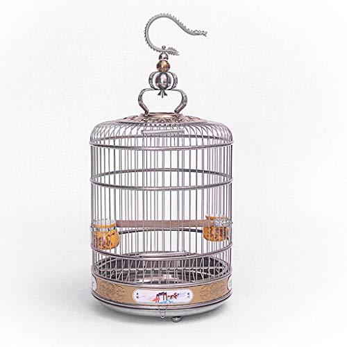 Redondo Jaula de Pájaros con Soporte Casa de Mascotas Metal Vuelo Jaula de Pájaro para Facilitar la Limpieza para Niños Pinzones Pájaros (tamaño : 36X44cm)