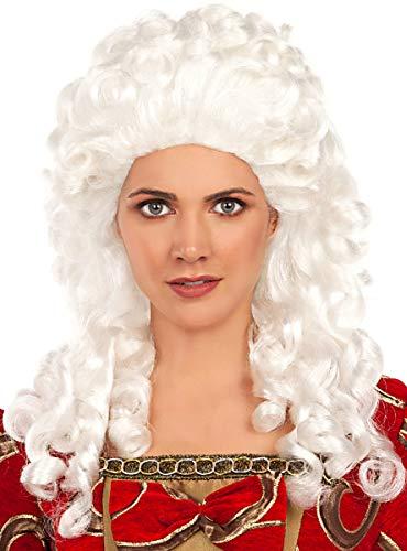 Funidelia | Peluca de época barroca para Mujer ▶ Barroco, Revolución Francesa, Siglo XVII-XVIII, Época - Color: Blanco, Accesorio para Disfraz - Divertidos Disfraces y complementos