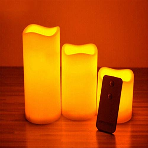 BBGSFDC Realista Velas de Color Amarillo Parpadeo Led Pilar Velas con Control on/Off Remoto, Control Remoto dirigidos Brillante (Color : Set of 3 with Remote)