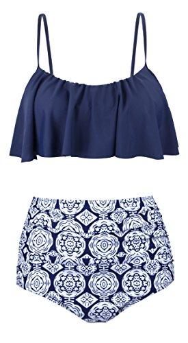 Angerella Swimsuits For Women Ruffled Top Swimwear High Waisted Bikini,Navy,US 6-8=Tag Size L