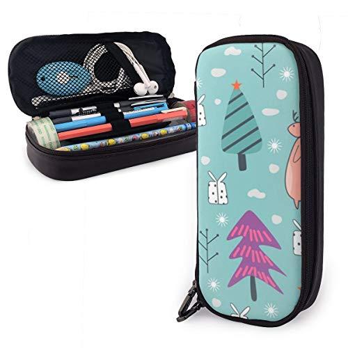 Colorido diseño de invierno, sin costuras, con diseño de renos y oso, estuche para lápices para niños y niñas, estuche grande para lápices para estudiantes, universidad, suministros escolares y oficina