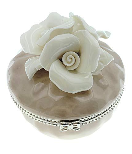 Value Arts - Joyero (Porcelana, 6,35 cm), diseño de Rosas Blancas sobre Beige