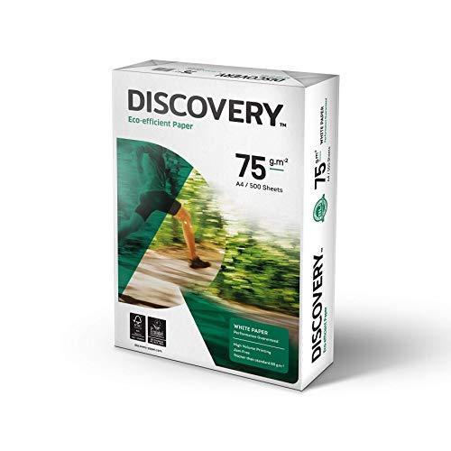 Discovery Carta Eco-Efficiente a Ottima Macinabilità, Grammatura da 70 g mq a 75 g mq, Bianco, Confezione 5 x 500 fogli