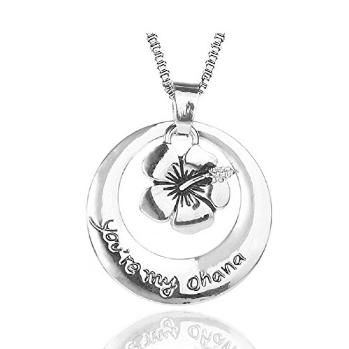 Silver-Tone 'You're My Ohana' Engraved Pendant Necklace 2.5cm Diamater with 18 Inch Chain Lilo and Stitch Flower Means Family