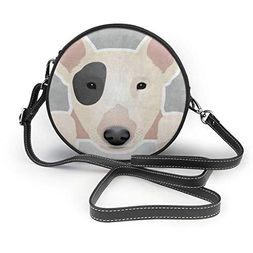 Lustige Dog Bull Terrier Crossbody runde Tasche PU Leder Handtaschen Geldbörse Menger Tasche für...
