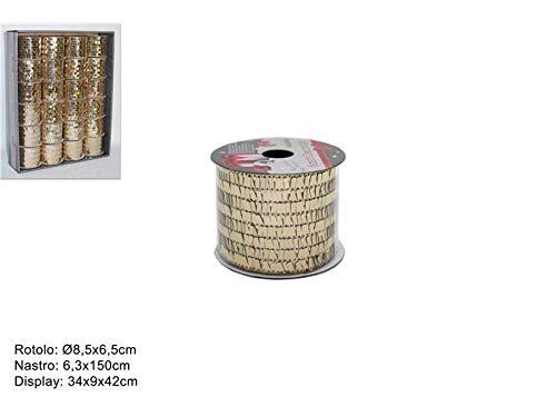 DUE ESSE CHRISTMAS SRL 2 PZ Nastro 6,3X150CM Paillettes Oro Art.HJ2019-654-6.3