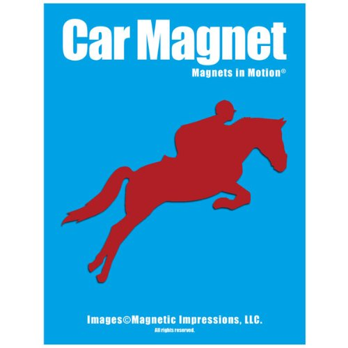 Equestrian Rider Car Magnet Red