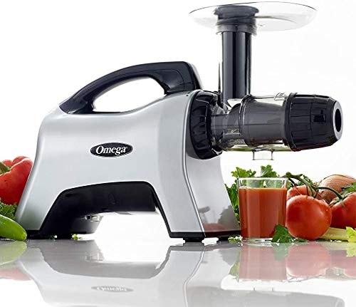 Omega NC1000HDS Juicer Extractor Nutrition Center Creates Fruit Vegetable and Wheatgrass Juice Slow Masticating BPA-FREE with Quiet Motor and Reverse Easy to Clean, 200-Watt, Silver
