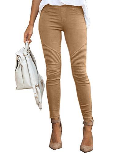 Onsoyours Damen Business Elegante Hosen Lang Stretch Straight Casual Anzughose Skinny Hoher Bund Freizeithose Eng Schwarz Khaki Large