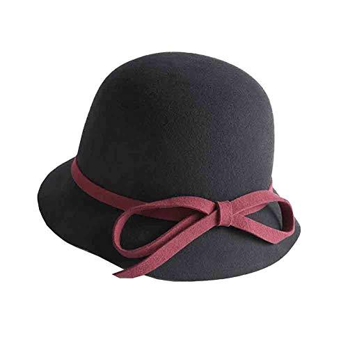 Sun Chapeau De Cloche Vintage Couleur Hiver Chapeau pour Femmes avec Accent d'arc (circonférence De Tête Réglable) (Couleur : Black/Red)