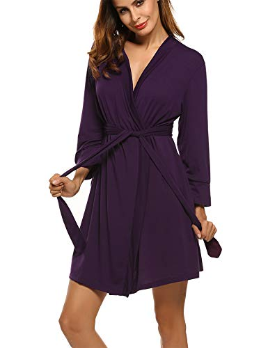 Hotouch Women's Lightweight Knee Length Waffle Kimono Bridesmaids Spa Robe Purple XL