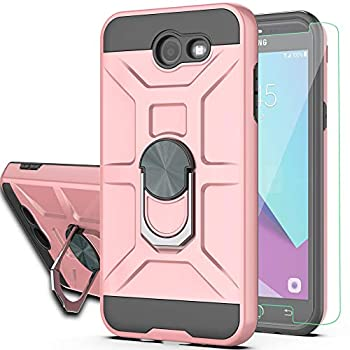 Galaxy J3 Prime/J3 2017/J3 Eclipse/J3 Emerge/J3 Mission/J3 Luna Pro/Express Prime 2/Amp Prime 2 Case with HD Screen Protector YmhxcY 360 Degree Ring of Shockproof Phone Case for J3 2017-ZS Rose Gold