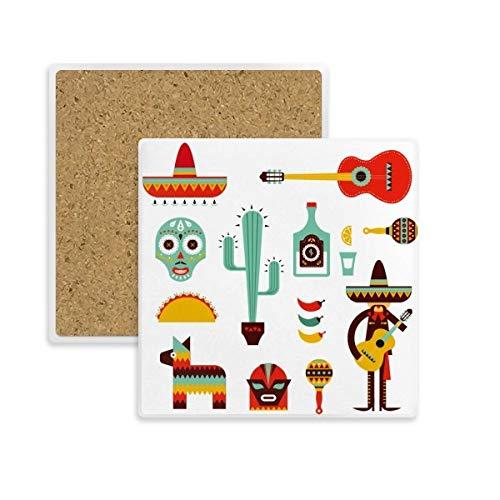 DIYthinker Sombrero Tequila Gitarre Chili Mexiko Elment Platz Coaster-Schalen-Becher-Halter Absorbent Stein für Getränke 2ST Geschenk Mehrfarbig
