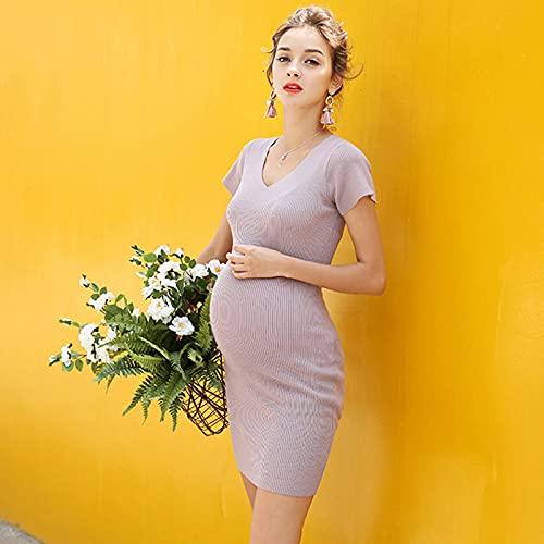 Kpcxdp Zwangere vrouwen gebreide jurk temperament zomer mode nieuwe tij moeder vnek kracht slanke lente outdress