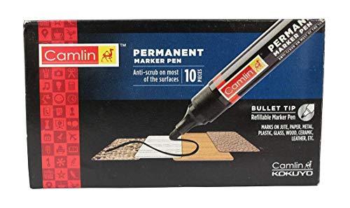 Camlin permanente marker voor metalen glas kunststof houten jute doos | 10 stuks zwart