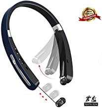 Bluetooth Headphones Wireless Earbuds Neckband Foldable V4.1 Wireless Headphones Sport Sweatproof Retractable Bluetooth Earbuds Hands Free Calling Noise Cancelling for iPhone Android