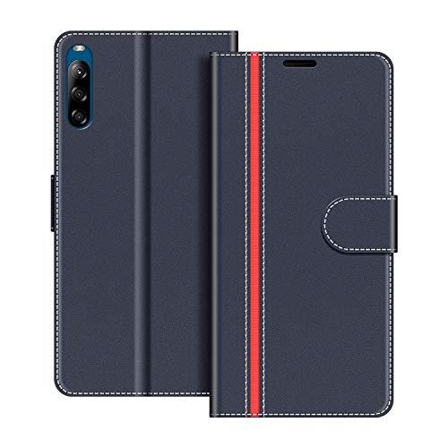 COODIO Handyhülle für Sony Xperia L4 Handy Hülle, Sony Xperia L4 Hülle Leder Handytasche für Sony Xperia L4 Klapphülle Tasche, Dunkel Blau/Rot