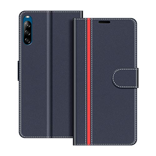 COODIO Handyhülle für Sony Xperia L4 Handy Hülle, Sony Xperia L4 Hülle Leder Handytasche für Sony Xperia L4 Klapphülle Tasche, Dunkel Blau/Rot