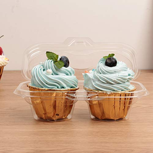 Autuneer 2 Cavity Cupcake Containers, 50Packs Cupcake Containers Boxes Two Compartment Cupcake Carrier Holder Stackable Deep Dome Clear Plastic Disposable Cake Storage(50)