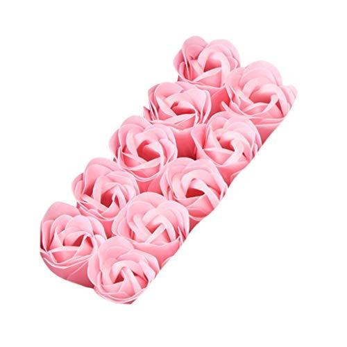 Oppal Jabón de baño perfumado con pétalos de Rosas, decoración de Bodas, Regalo, 10 Piezas, decoración del hogar para el día de Pascua (Rosa)