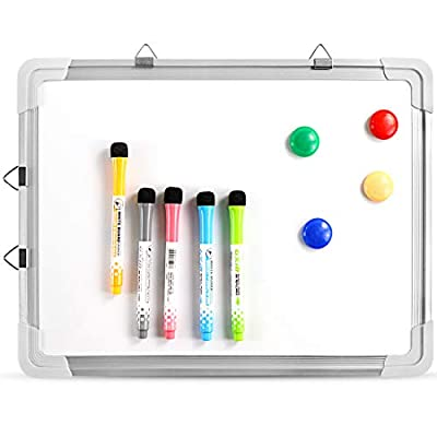 ZNCMRR Small Dry Erase White Board, Magnetic Portable Hanging Whiteboard Easel for Wall with Markers and Magnetsfor Kids Drawing, Home and Office, 16X12 Inch
