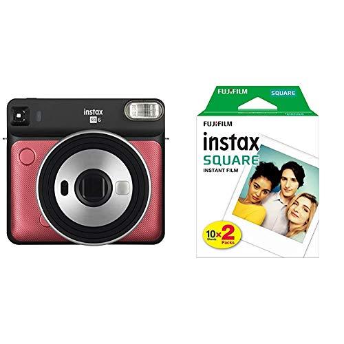 Fujifilm Instax SQ 6 EX D Sofortbildkamera, Ruby Red & Instax Square WW2 Film, klar