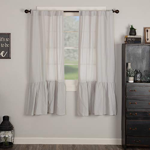 """Piper Classics Annabelle Gray High Ruffle Panel Curtains, Set of 2, 63"""" Long, Light Gray, Semi-Sheer, Vintage Farmhouse Chic Style Drapes"""