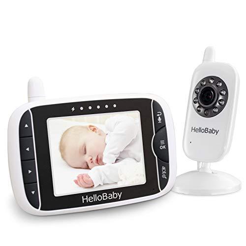 HELLO BABY Wireless Video Baby Monitor con fotocamera digitale, visione notturna, monitoraggio della temperatura e sistema di Talkback a 2 vie, bianco (HB32)