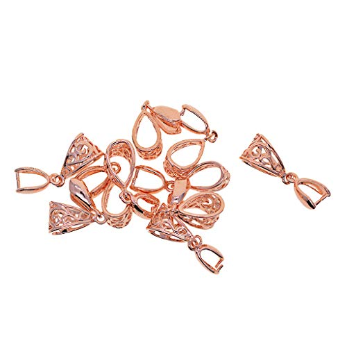 kowaku 10pcs Clip de Latón Pinch Bails .26x9x7mm para Cristales Colgantes Encontrar Joyería - Oro Rosa, Individual